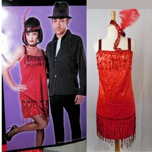 Red Flapper Adult Costume Dress ,Choker & headband